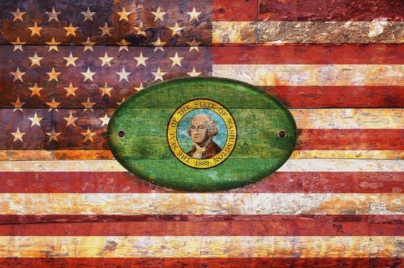 USA And Washington Flags