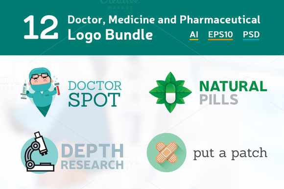12 Doctor Medicine Logo Bundle