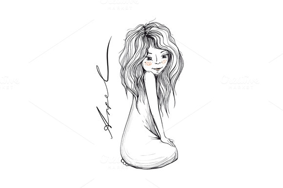Young Girl With Long Hair Inky Draw