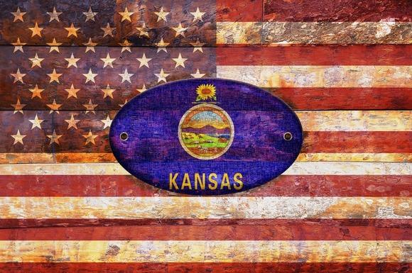 USA And Kansas Flags