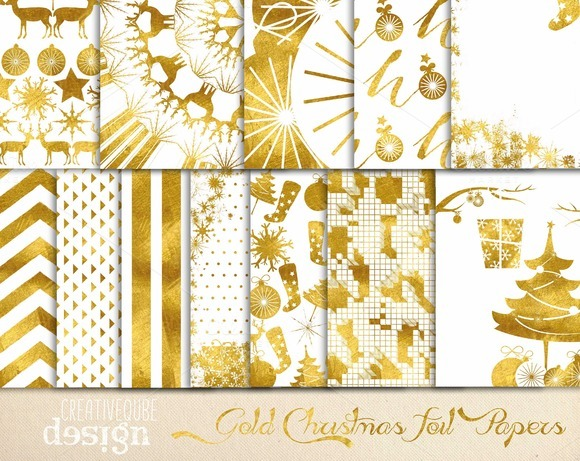 Christmas Gold Foil Digital Paper