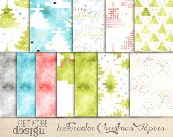 Christmas Watercolor Digital Paper