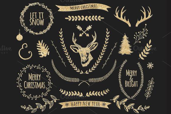 30pcs Golden Christmas Clip Art