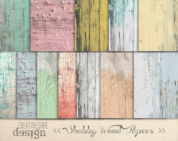Shabby Chic Wood Digital Paper