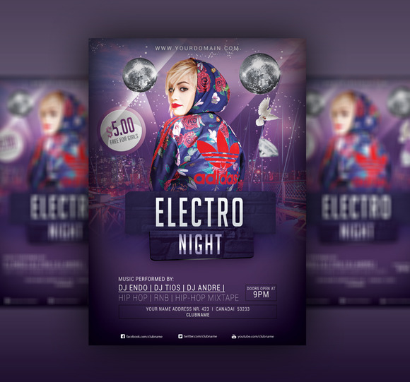Electro Night Party Flyer PSD