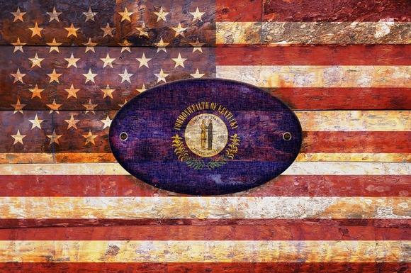 USA And Kentucky Flags