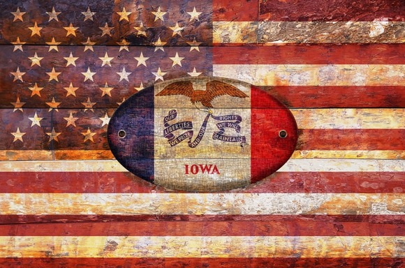 USA And Iowa Flags