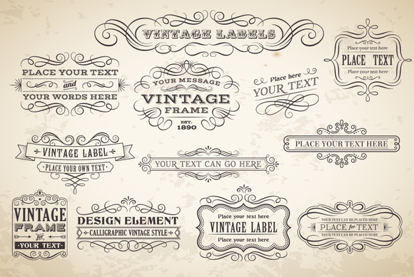 Vector Calligraphic Labels Banners