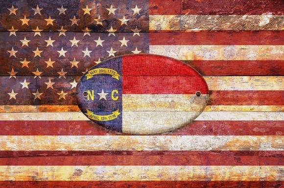 USA And North Carolina Flags