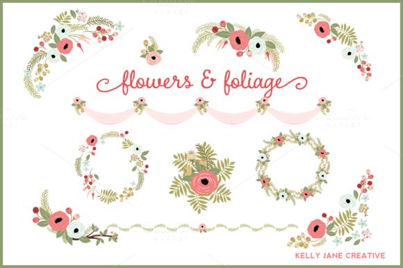 Floral Wreaths Design Elements