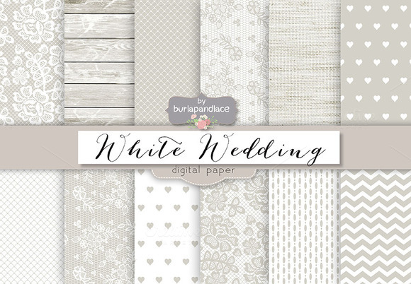 White Rustic Wedding Digital Paper