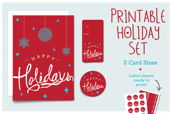 Happy Holidays Printable Set