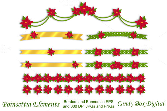 Poinsettia Holiday Ribbons N Banners