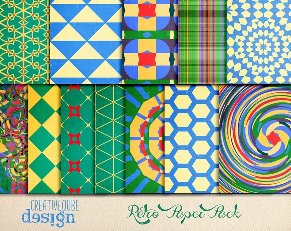 Groovy Retro Digital Papers