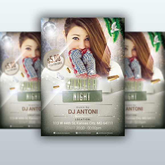 Winter Night Flyer PSD Template
