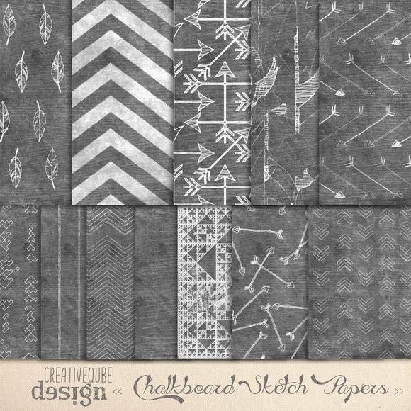 Chalkboard Art Aztec Digital Paper