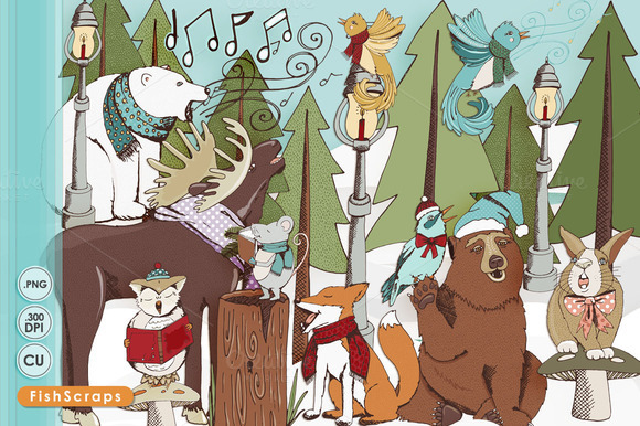 Christmas Caroling Woodland Animals