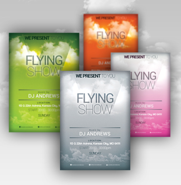 Flying Show 4 Flyer PSD Template