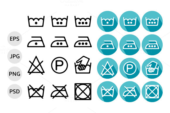 Set Of Instruction Washing Icons