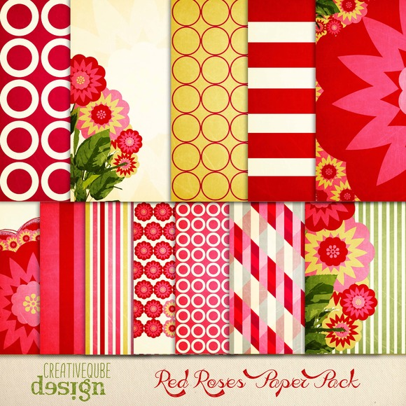 Digital Paper Pack Red Roses