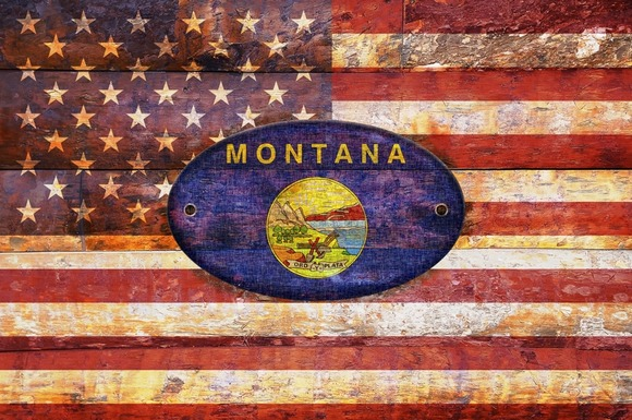 USA And Montana Flags