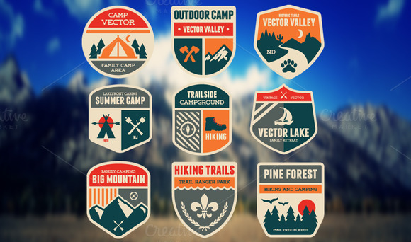18 Vector Badge Camping And Hiking