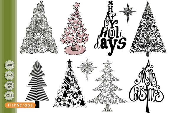 Graphic Christmas Trees Brushes