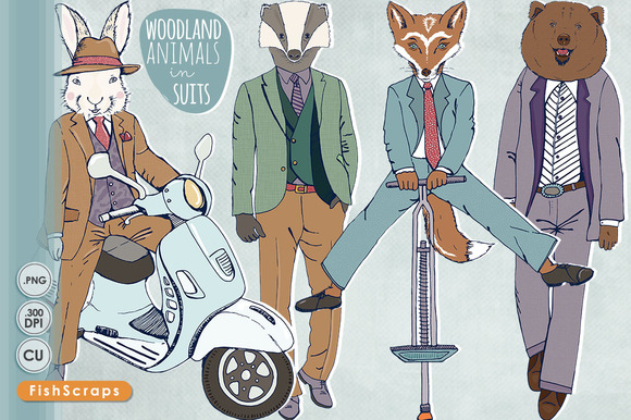 Woodland Animals In Suits ClipArt
