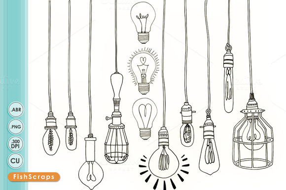 Light Bulb Digital Stamps Outlines