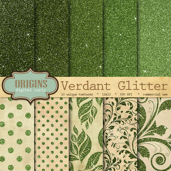 Verdant Green Glitter Digital Paper