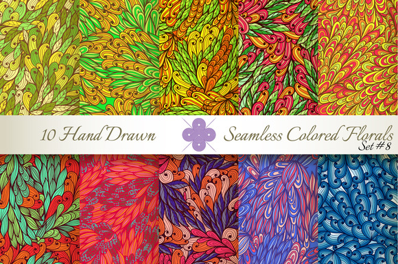 10 Colored Seamless Florals Set #8