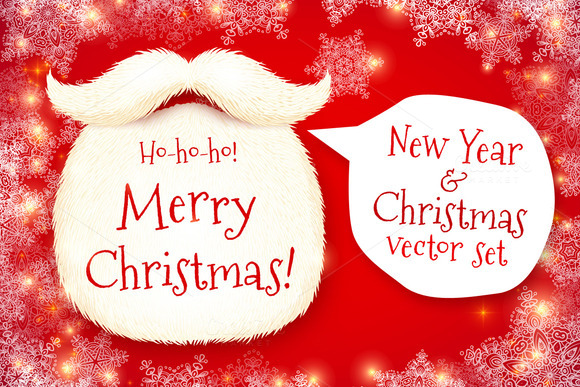 Santa S Beard Vector Christmas Set