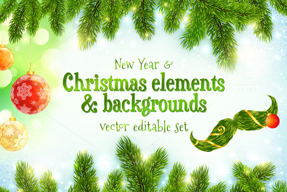 Christmas Elements Backgrounds Set