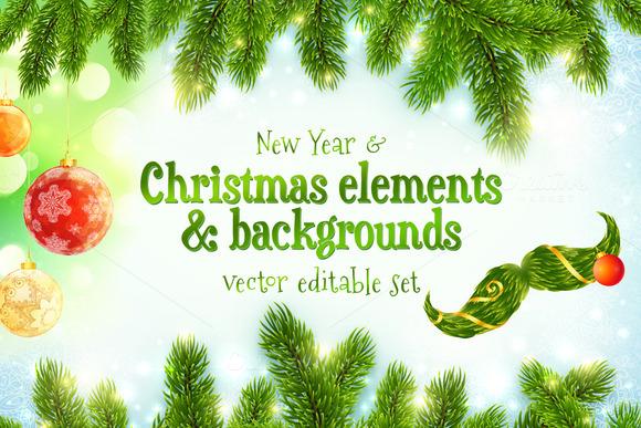Christmas Elements Backgrounds Set