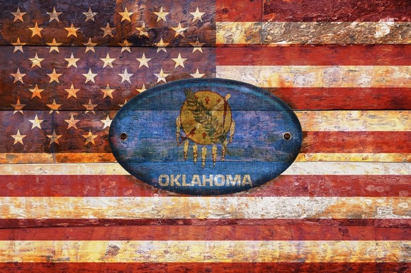 USA And Oklahoma Flags