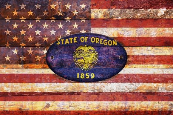 USA And Oregon Flags
