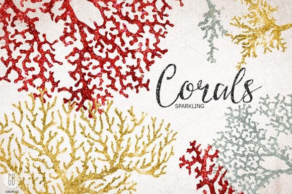 Sparkling Corals Sea Life Clip Art