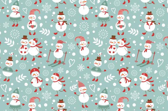 Snowmen Seamless Pattern