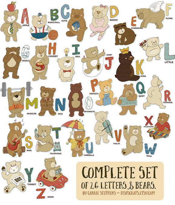 Alphabet Bears ClipArt