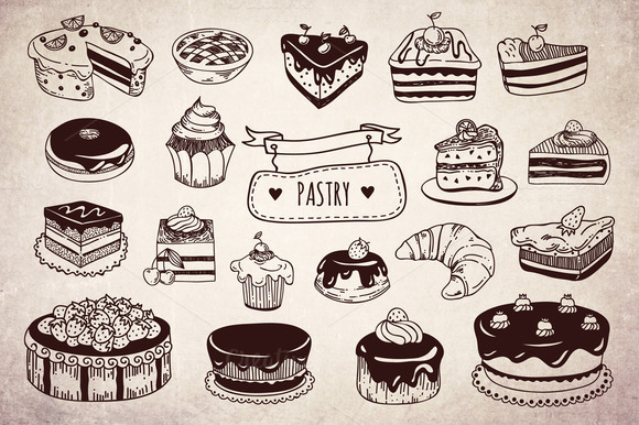 Tasty Hand Drawn Pastry