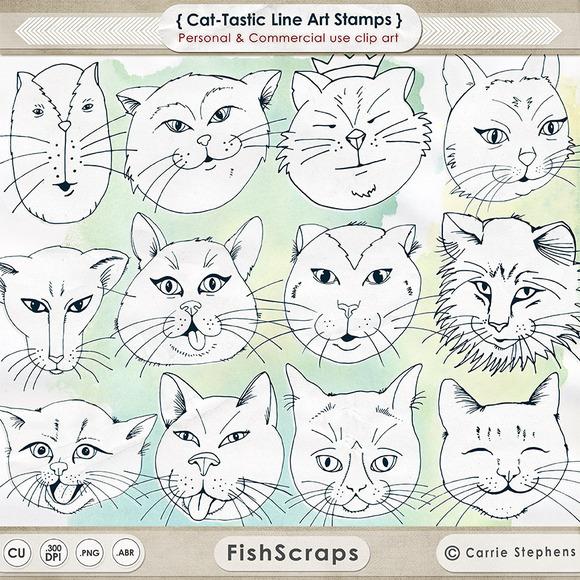 Cat-Tastic Line Art Digital Stamps