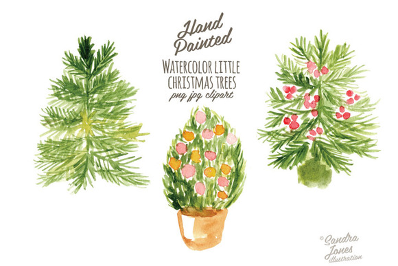 Watercolor Little Christmas Trees