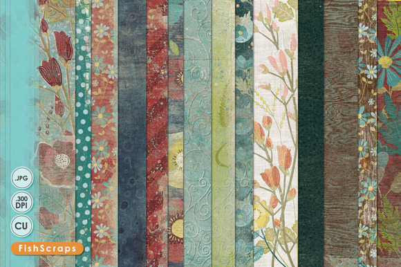 Fall Floral Digital Papers Texture