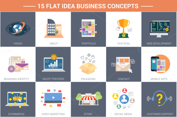 15 Flat Idea Business Concepts