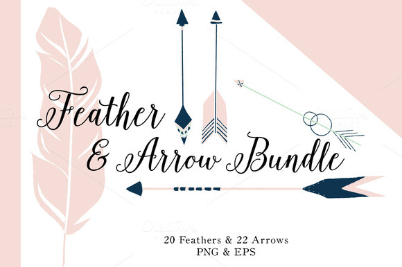 Feather Arrow Bundle 42 Vectors