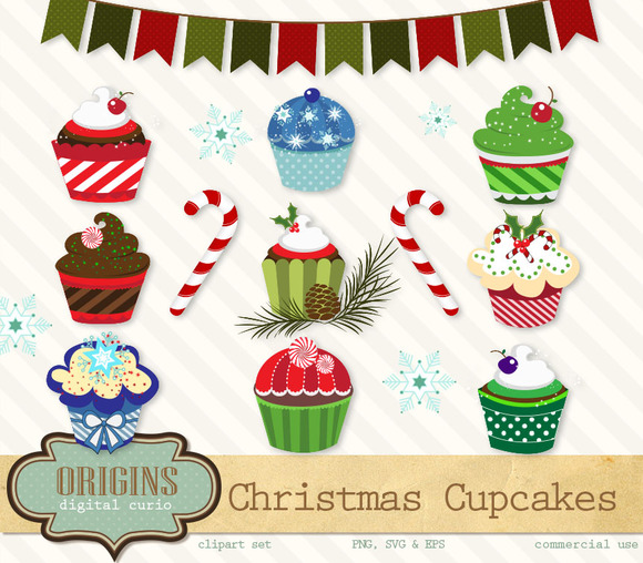 Christmas Cupcakes PNG Vector
