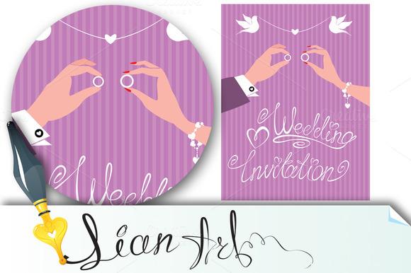 Wedding Invitation Groom And Bride