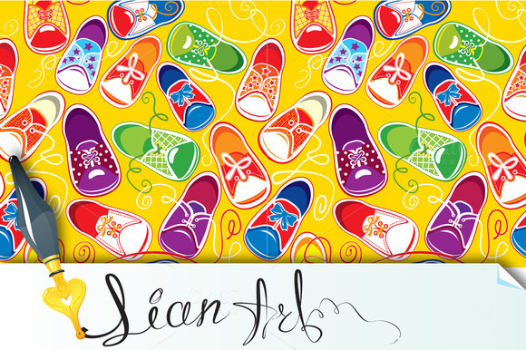 Seamless Pattern Children Gumshoes