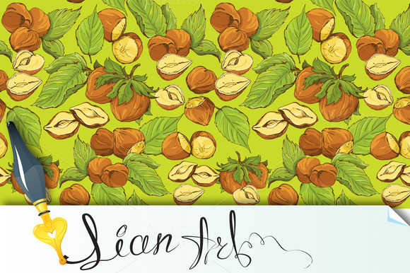 Seamless Pattern With Hazelnuts