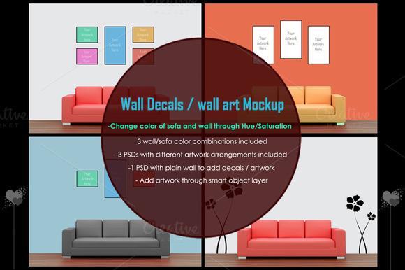 Wall Art Decals Poster Mockup
